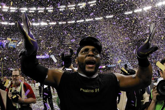 Ray Lewis celebrates following the Ravens' 34-31 win against the San Francisco 49ers during Super Bowl XLVII at the Mercedes-Benz Superdome on February 3, 2013.