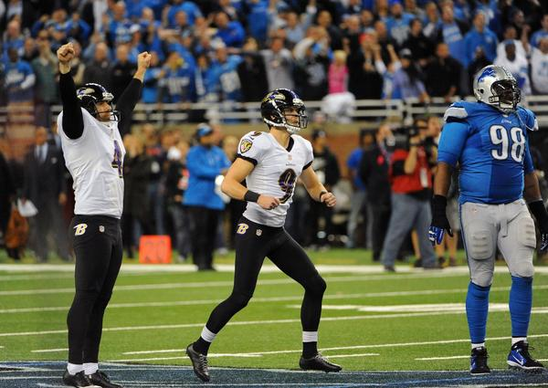 Baltimore Ravens kicker Justin Tucker (9) celebrates his game-winning field goal during the fourth quarter against the Detroit Lions at Ford Field in Detroit on Monday, Dec. 16, 2013. Ravens won, 18-16.