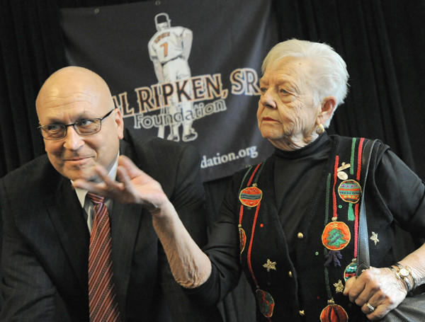 Cal Ripken Jr., left, and his mother, Vi Ripken, participate in a news conference Tuesday at the Sports Legends Museum at Camden Yards for The Cal Ripken, Sr. Foundation to discuss a $30 million capital campaign for continued growth of its Youth Development Park initiative.