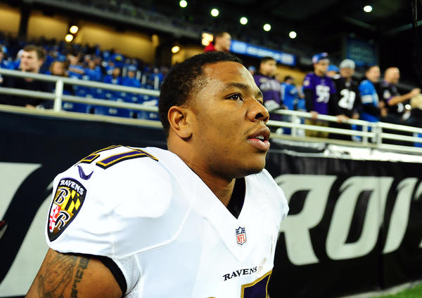 Ravens running back Ray Rice, shown warming up before Monday's game against the Detroit Lions, joked afterward that a late 2-yard carry helped set up kicker Justin Tucker's game-winning field goal.