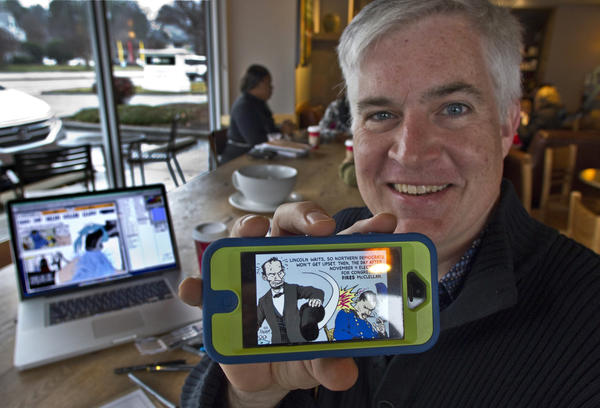 Bentley Boyd & Chester the Crab historical/educational cartoon Chester the Crab for the Daily Press, is now working on adapting his old strips into a cell phone app to reach his target audience of high elementary school and middle school students He's working from Starbucks in Newport News where he frequently does his work on his laptop.