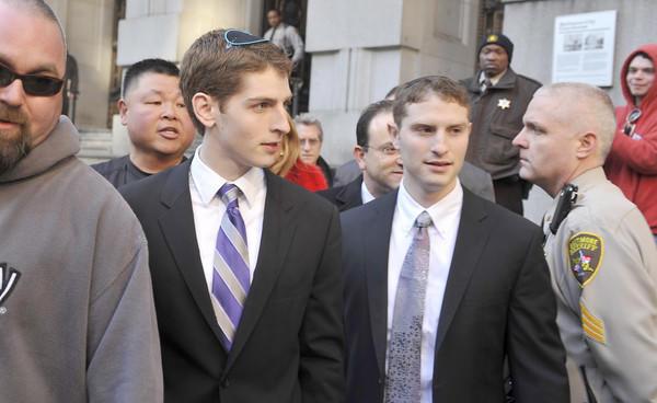 Avi Werdesheim, 20, and Eliyahu Werdesheim, 23, arrive at the Clarence M. Mitchell Jr. Courthouse.