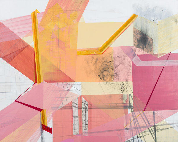 An acrylic on panel by Los Angeles artist Fleurette West is among 70 works on view in Pasadena.