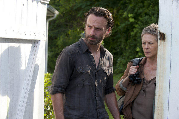 "Andrew Lincoln and Melissa Suzanne McBride in an episode of ""The Walking Dead"" on AMC."
