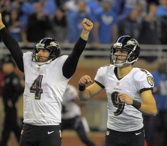 Ravens kicker Justin Tucker and holder Sam Koch react to the game-winning field goal against the Detroit Lions.