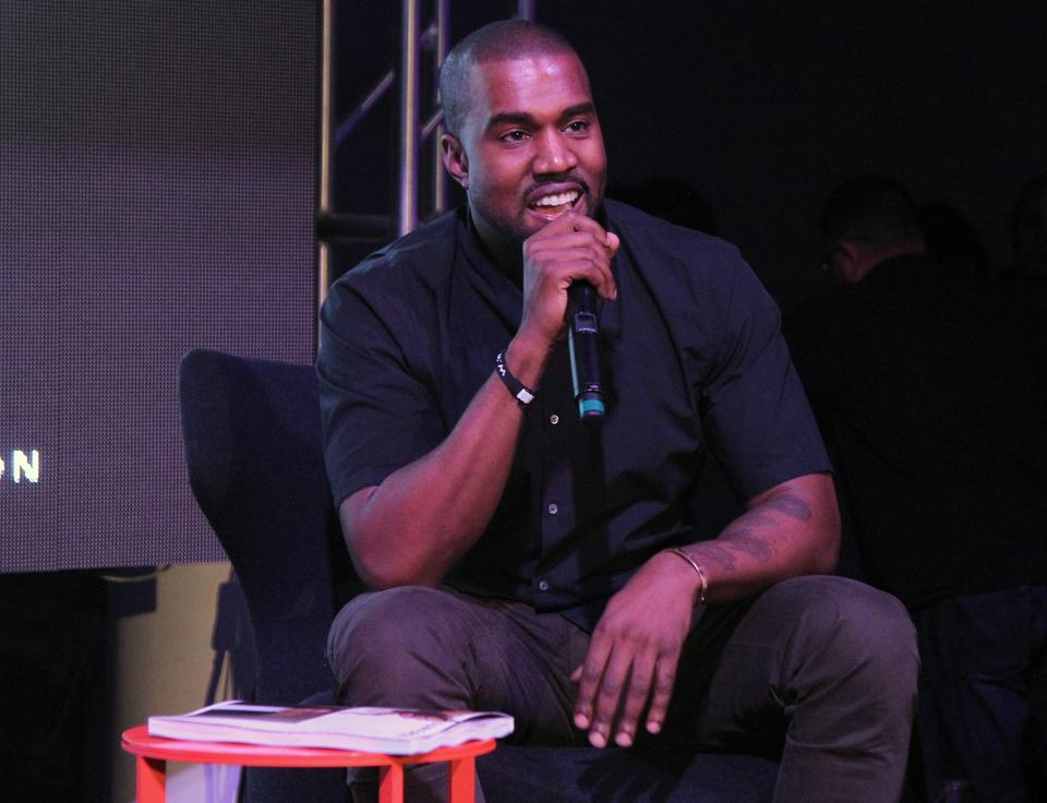 Kanye West speaks at Surface Magazine's DesignDialogues No. 6 With Hans Ulrich Obrist, Kanye West And Jacques Herzog in Miami.
