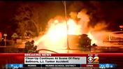 2 Hurt After Tanker Truck Overturns, Bursts Into Flames In Bellmore