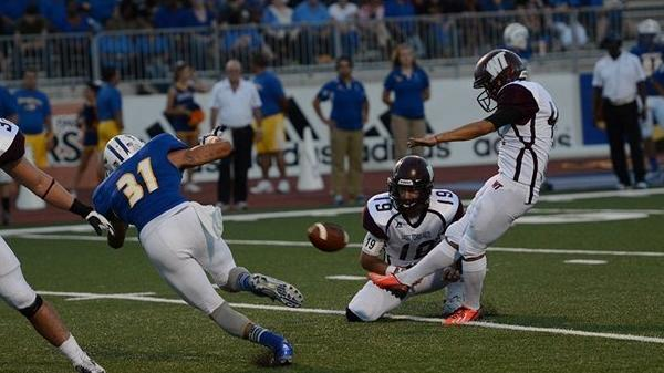 Sergio Castillo attempts a field goal for West Texas A&M.