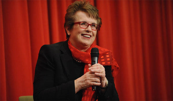 Tennis legend Billie Jean King speaks at her 70th birthday party celebration organized by the Women's Sports Foundation at the Museum of Art and Design on Nov. 6 in New York City.