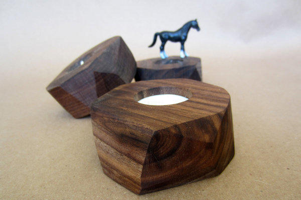 Faceted tea light candle holders from Few Bits -- horsey not included.