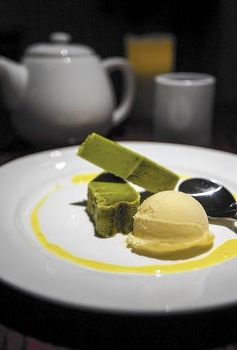 The green tea mochico cake with yuzu and honey at Ikko Japanese Cuisine.