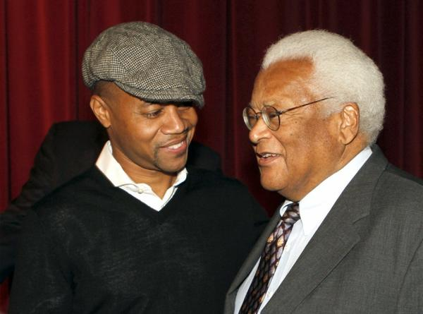 "Cuba Gooding Jr. pays his respects to civil rights leader Rev. James Lawson at a special screening of ""Lee Daniels' The Butler."""