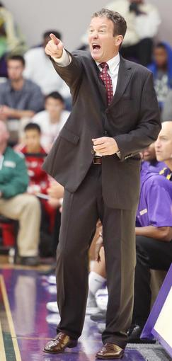 Montverde head coach Kevin Boyle yells during the Montverde Academy versus Edgewater High game of the Montverde Academy Invitational Tournament.
