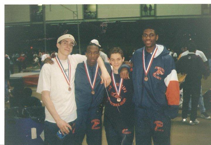 The four ETHS 4 x 800 runners: Tony Lesmes, Kevin Richards, David Epstein and Ricky Williams in 1998.