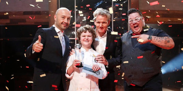 "Season 1 ""MasterChef Junior"" winner Alexander with judges Joe Bastianich (from left), Gordon Ramsay and Eliott Graham."