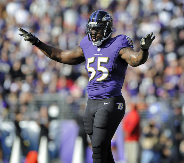 Ravens lienbacker Terrell Suggs gets ready for the next play against the Cincinnati Bengals in November.
