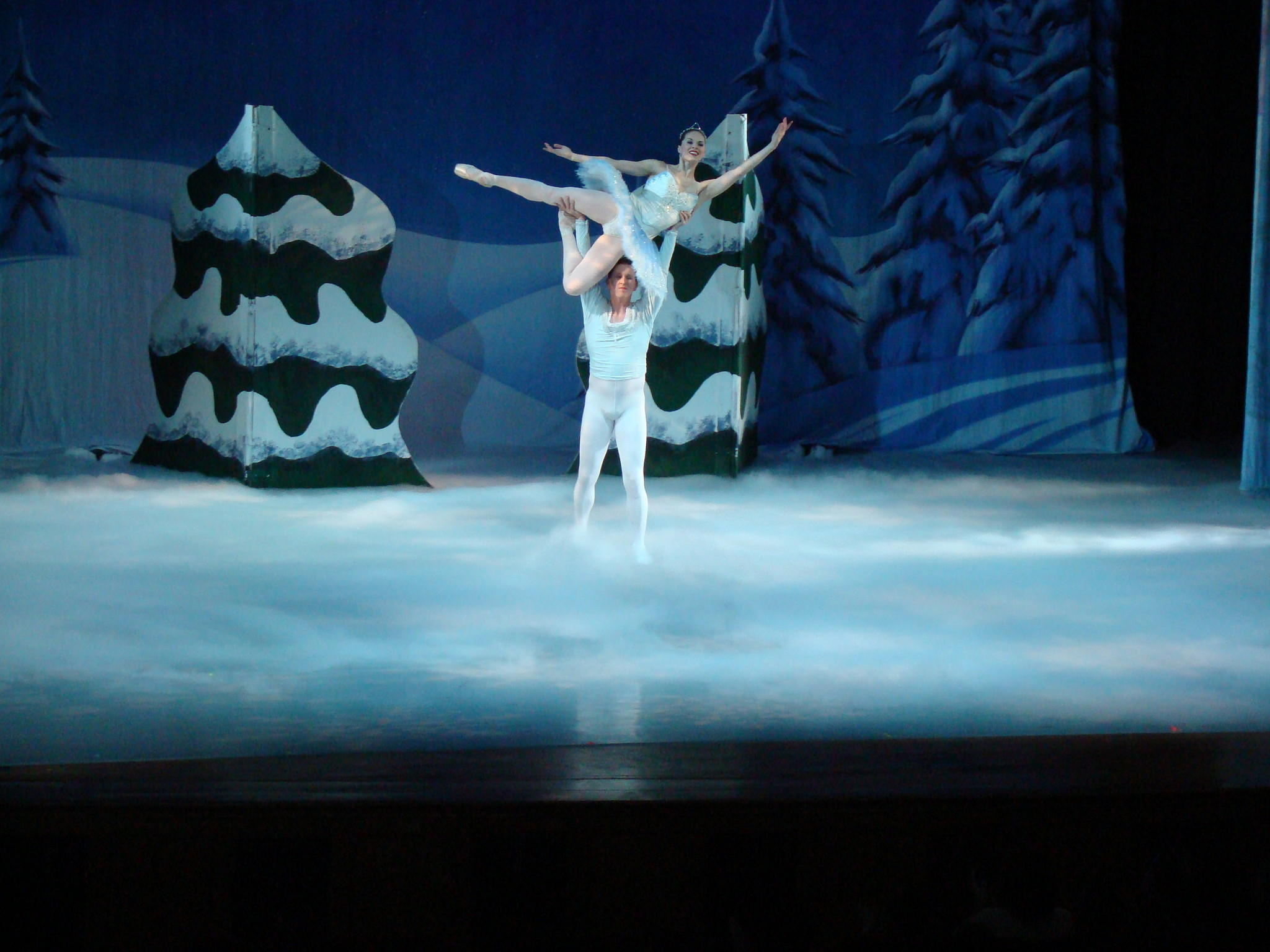 Snow King (Brian Walker) holds Snow Queen (Valerie Walker in the Ballet Theatre of Marylands production of Nutcracker, continuing through today, Dec. 22, at the Maryland Hall for the Creative Arts.