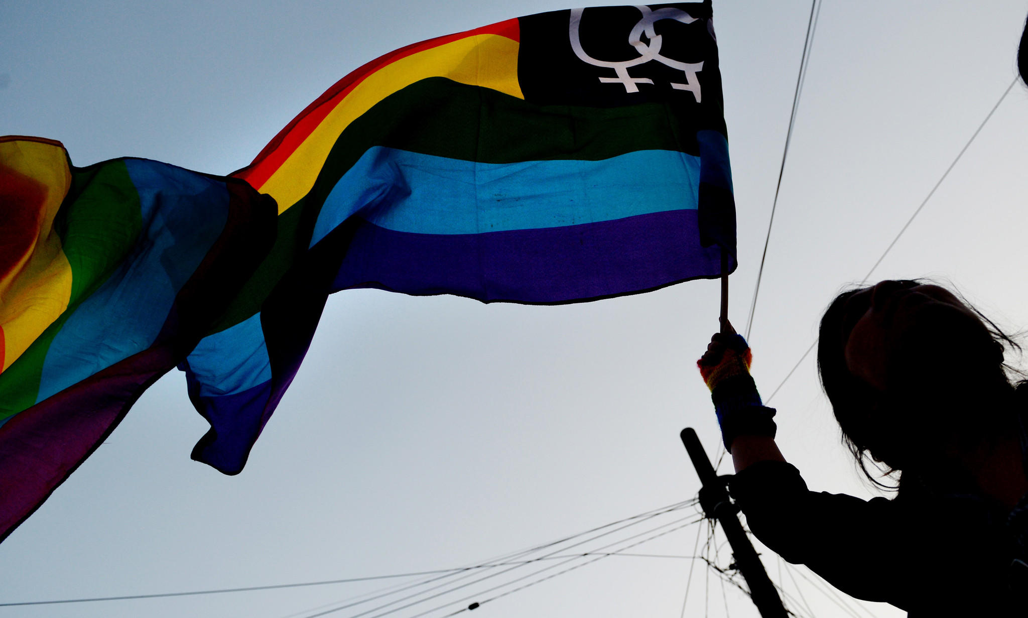 An gay-rights activist waves a rainbow flag during a protest against the Indian Supreme Court ruling reinstating a ban on gay sex.