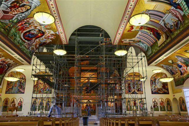 St. Mark Greek Orthodox Church in Boca Raton is wrapping up its project to paint the interior of the building with Biblical iconography. Artist Laurence Manos has been painting the saints for 10 years for the project.