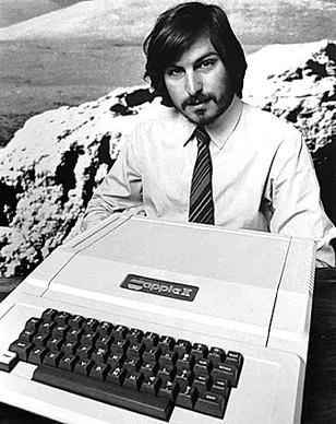 Apple founder Steve Jobs introduces the Apple II in 1977, the first computer with a keyboard and color screen.