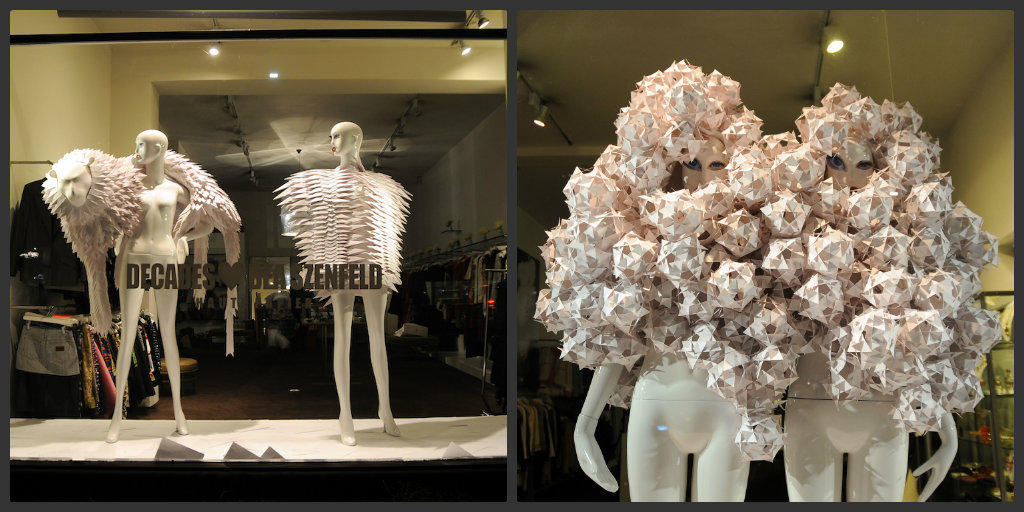 The haute paper creations of Swedish fashion designer Bea Szenfeld at Decades boutique.