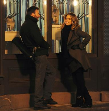 "Chris Evans and Alice Eve on the set of ""1:30 Train"" on Dec. 18, 2013, in New York City."