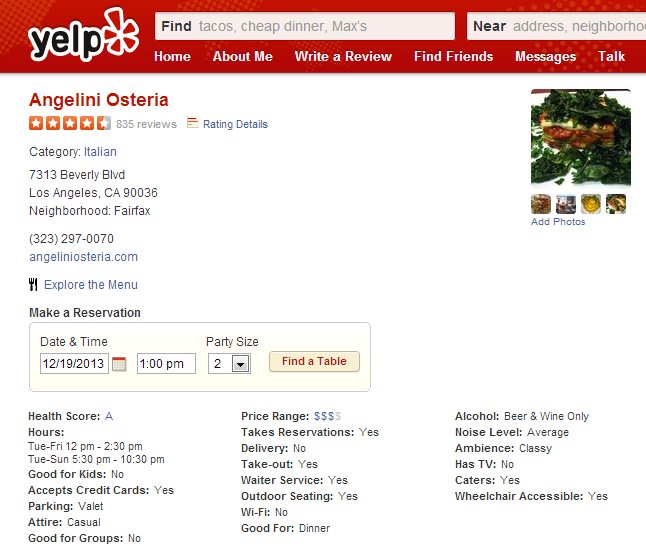 Yelp adds l a restaurants health grades to review pages