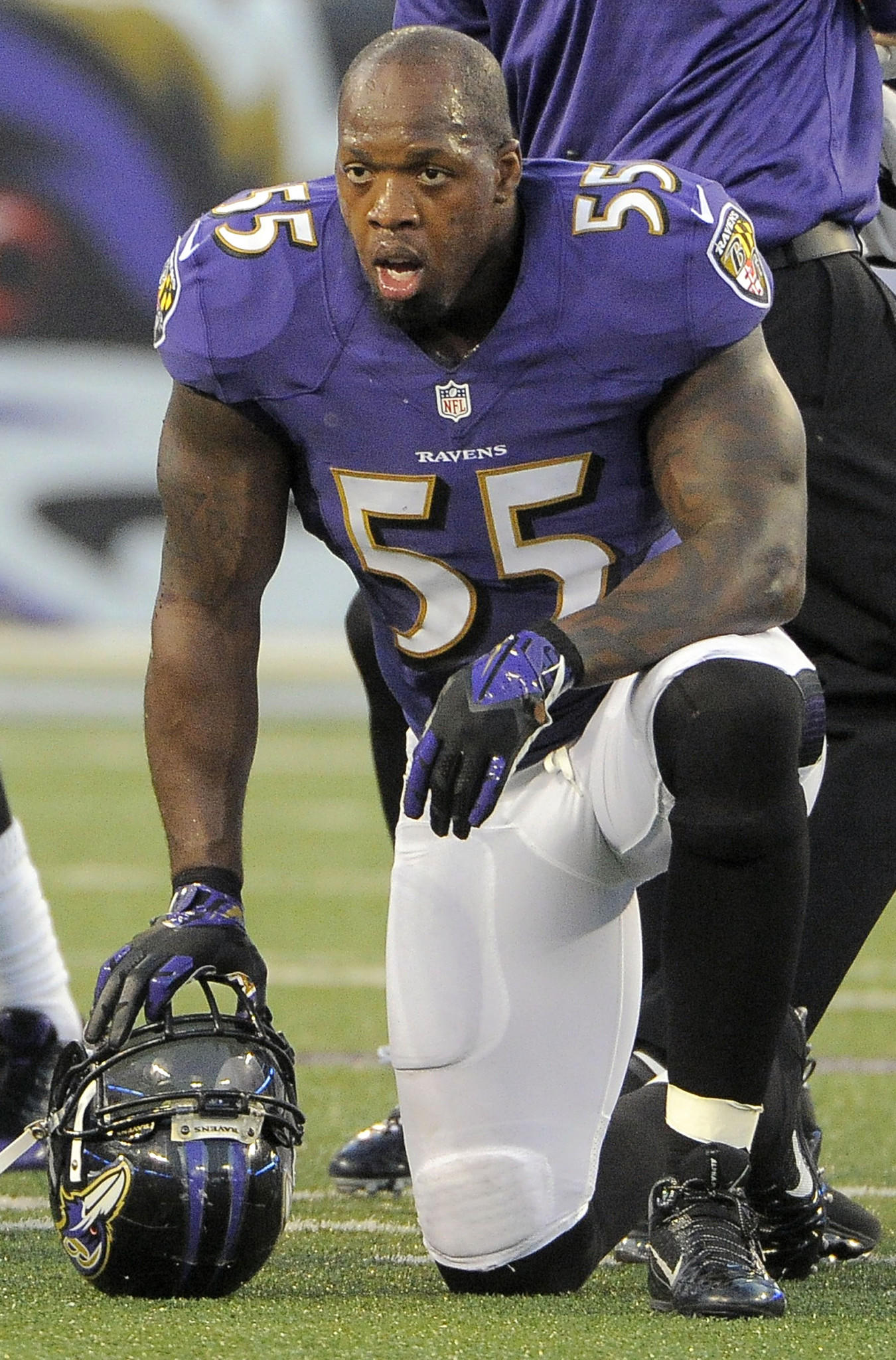 Ravens linebacker Terrell Suggs waits on the sidelines during a game earlier this season.