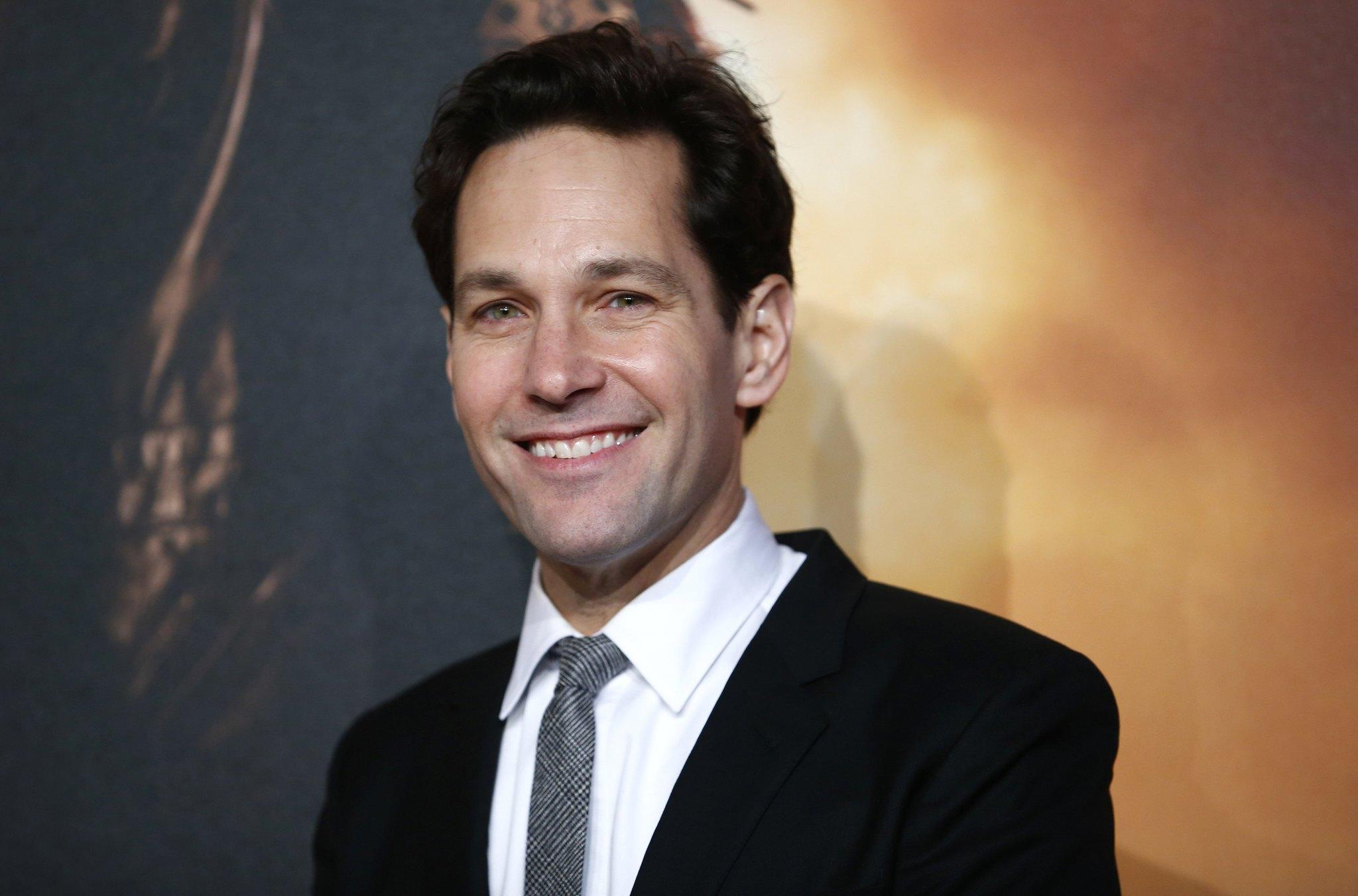 "Actor Paul Rudd poses at the U.K. premiere of "" Anchorman 2"" in London."