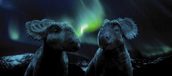 "Patchi, left, makes the acquaintance of a Pachyrhinosaurus named Juniper in ""Walking With Dinosaurs."""
