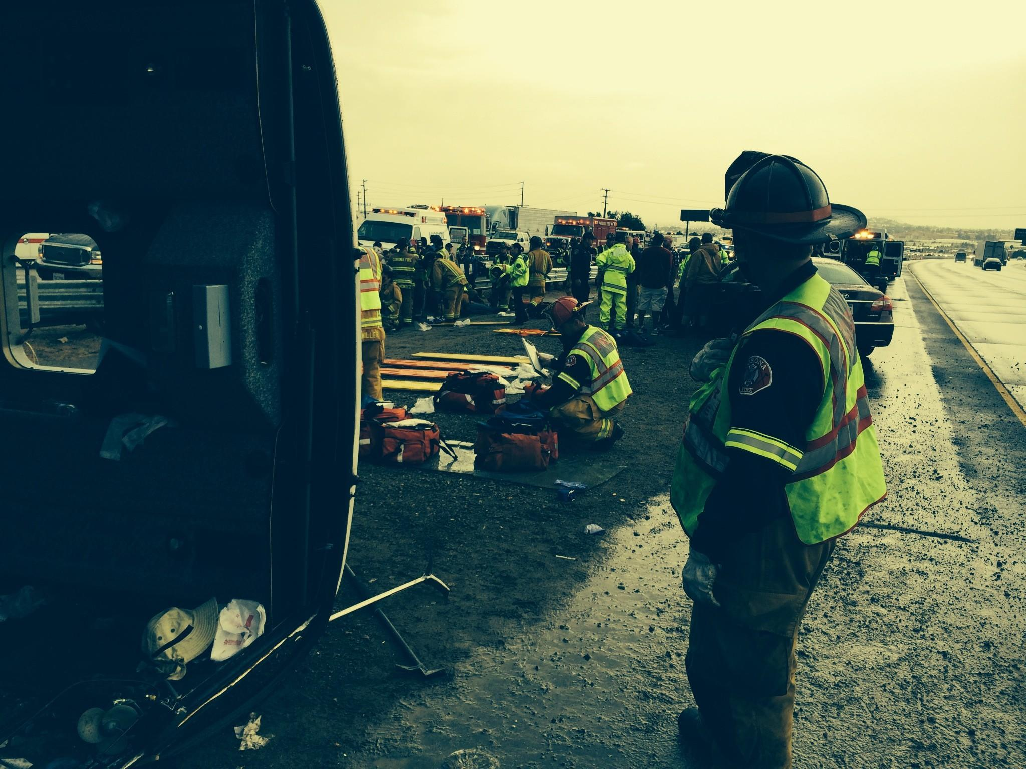 More than 20 people were injured Thursday afternoon in a tour bus crash in Corona.