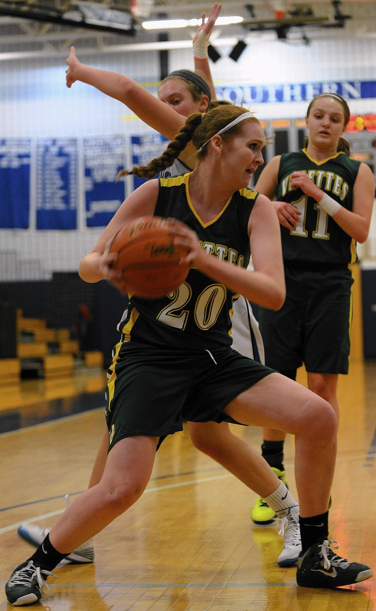 Central Catholic's Emma Redding (20) with the ball. Southern Lehigh High School girls basketball team played Allentown Central Catholic High School at Southern Lehigh High School Monday night.