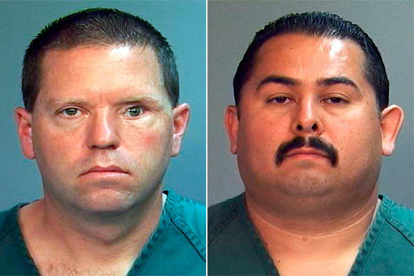 Former Fullerton police officers Jay Cicinelli, left, and Manuel Ramos shown in booking photos.