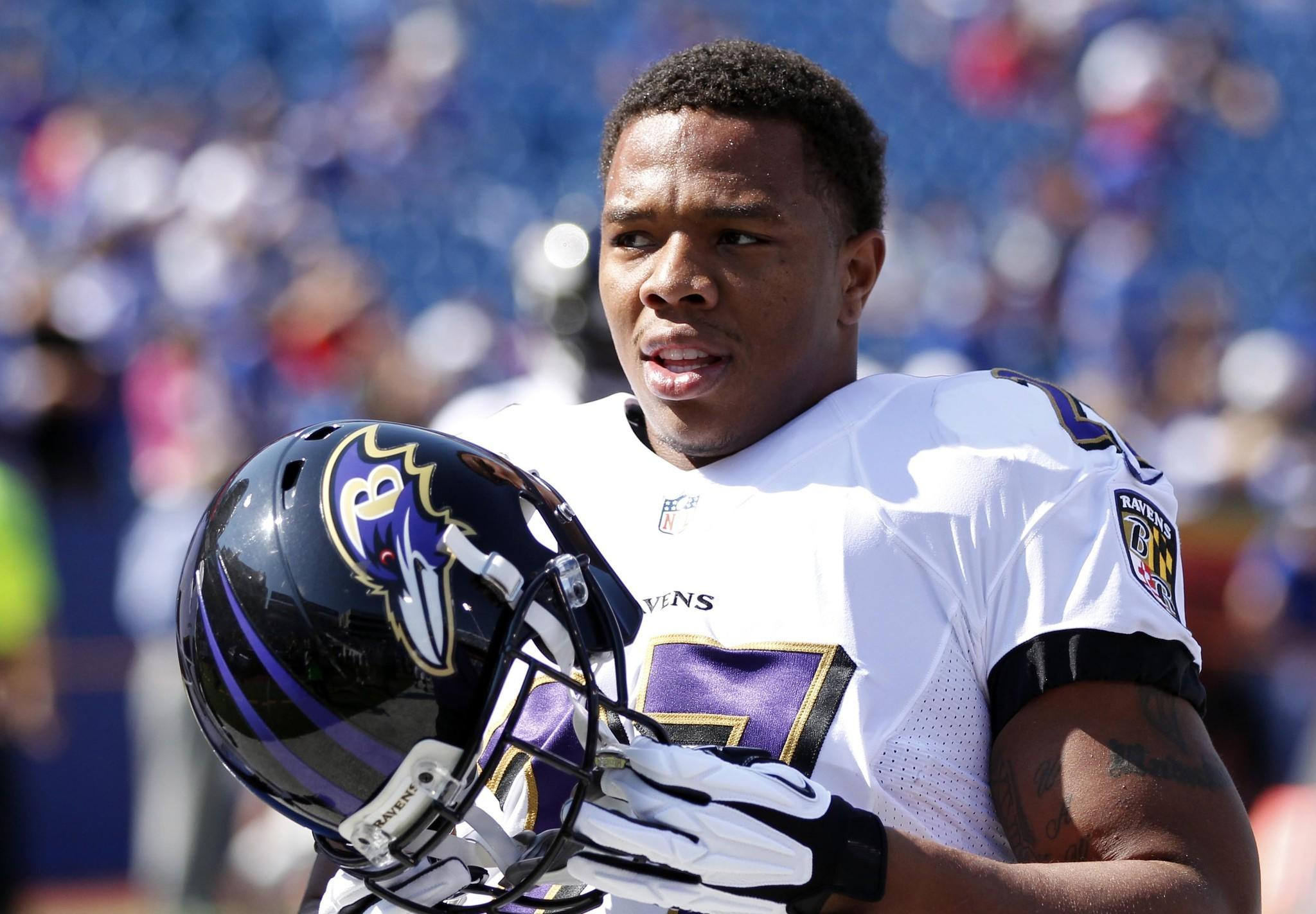 Ravens running back Ray Rice, shown before the team's game against the Buffalo Bills in late September, knows the wear and tear those at his position endure throughout a lengthy career.