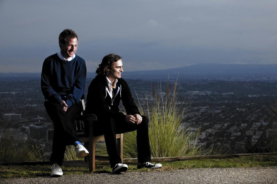 Director Spike Jonze and actor Joaquin Phoenix in the hills above Los Angeles.
