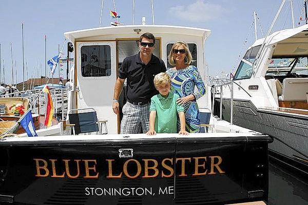 Jon, Morgan and Commodore Gale Pickney on their boat at Newport Habor Yacht Club Opening Day 2013.
