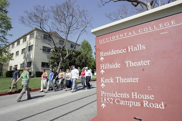 A group of high school students take a tour of Occidental College in Eagle Rock.