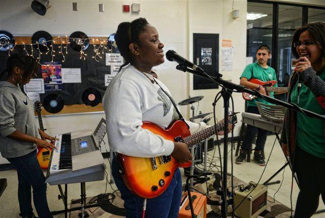 South Tech High students jam during a practice session at the Rock and Roll Academy in Boynton Beach.
