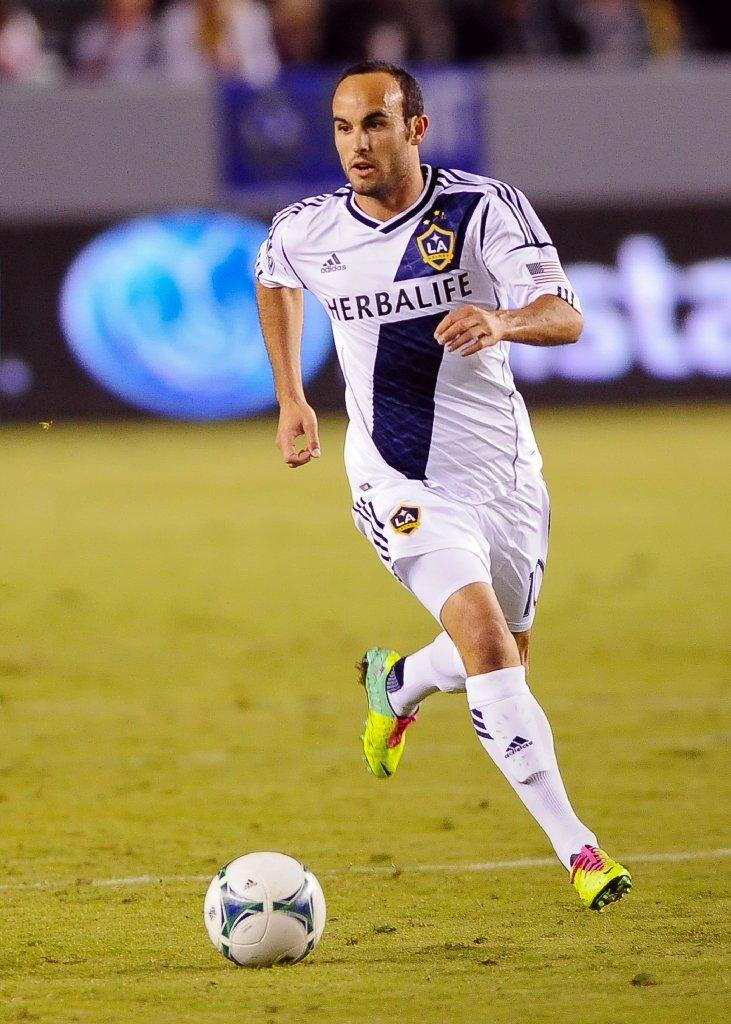 Galaxy midfielder Landon Donovan brings the ball up the field on Nov. 3.