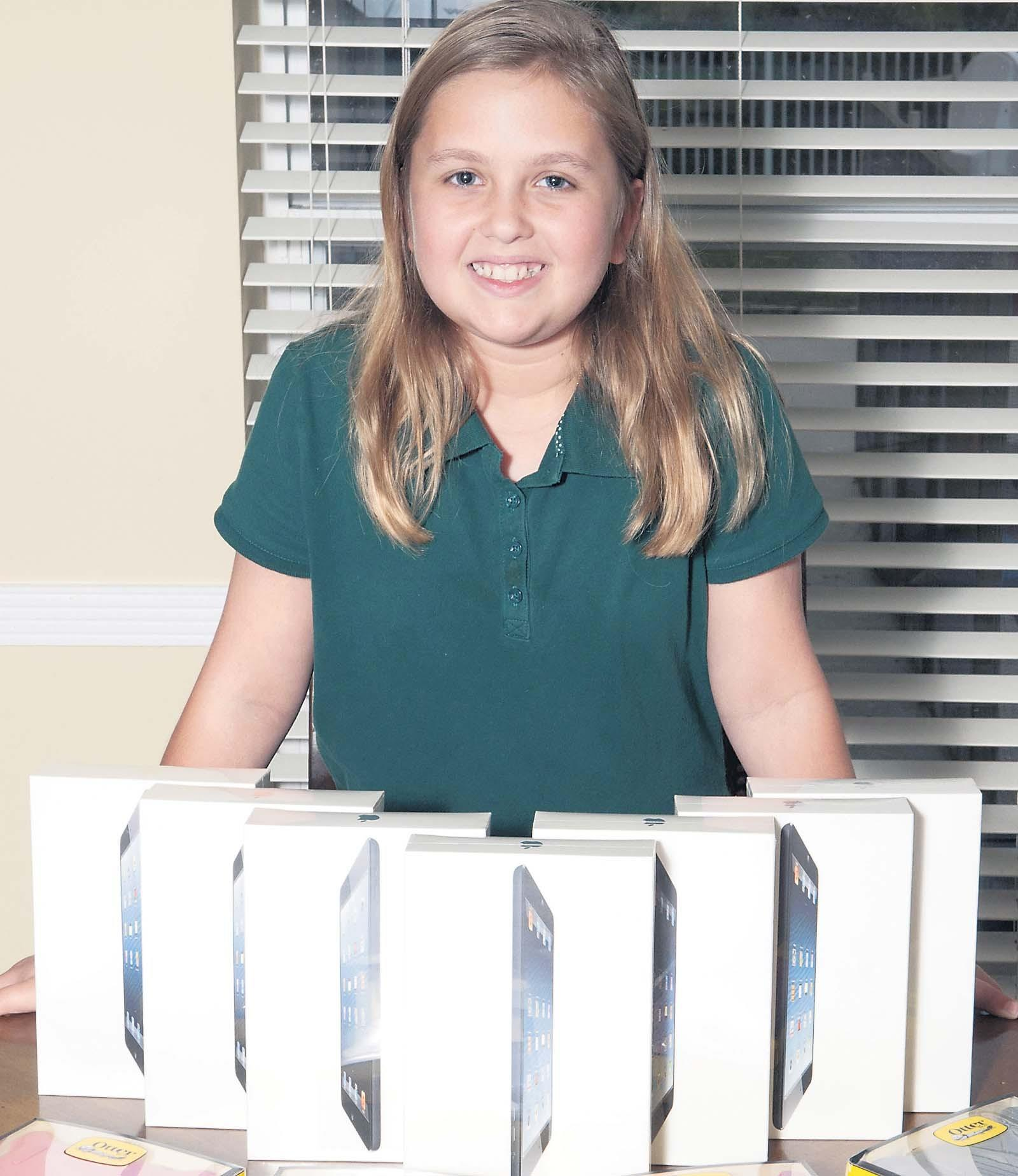 Sarah Clein, 11, a fourth-grader at Binks Forest Elementary School in Wellington, raised money to buy iPads and collected used one to start a lending library for patients at Joe DiMaggio Children's Hospital in Hollywood.