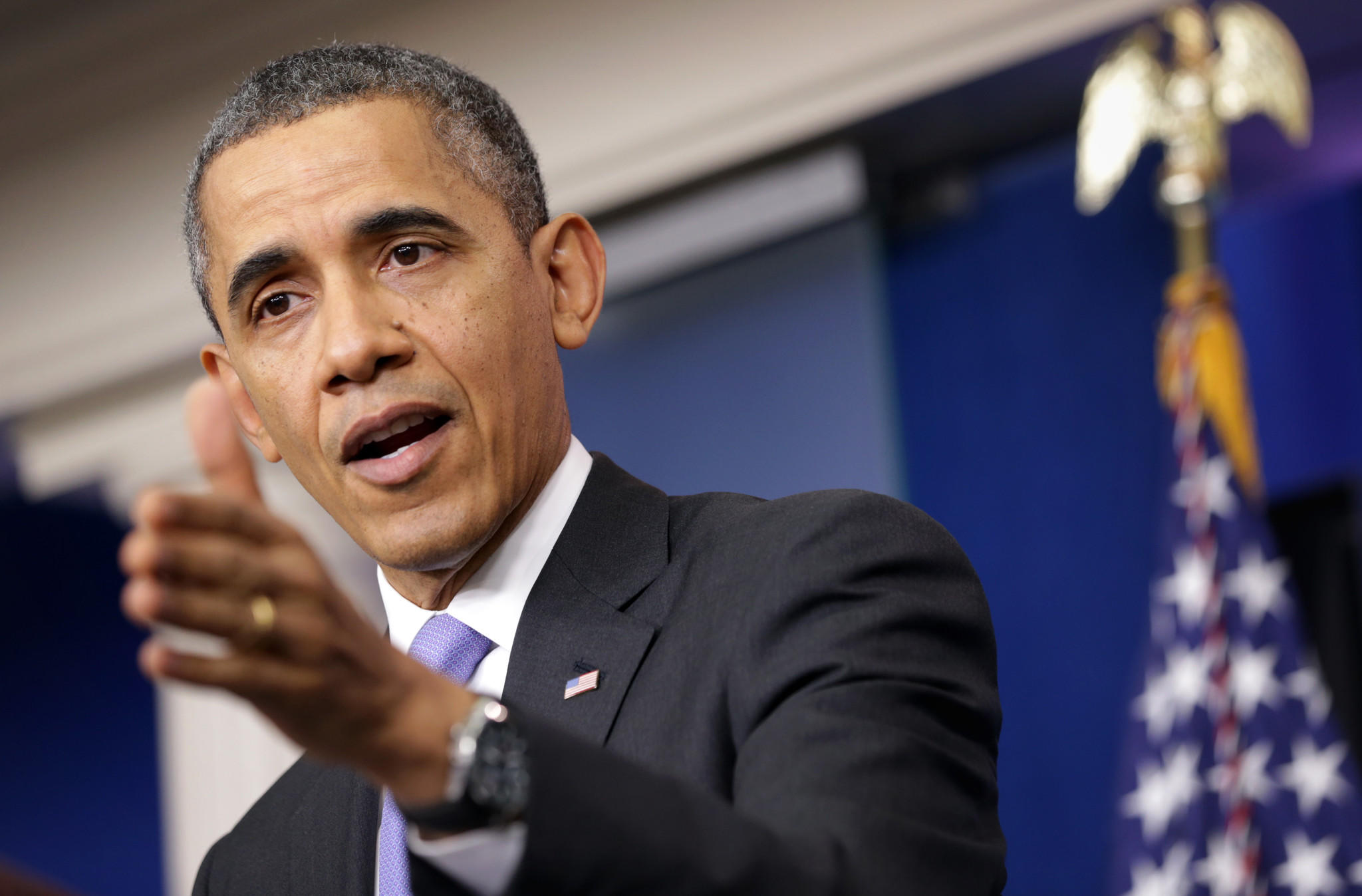 President Barack Obama speaks during a news conference at the James Brady Press Briefing Room of the White House.
