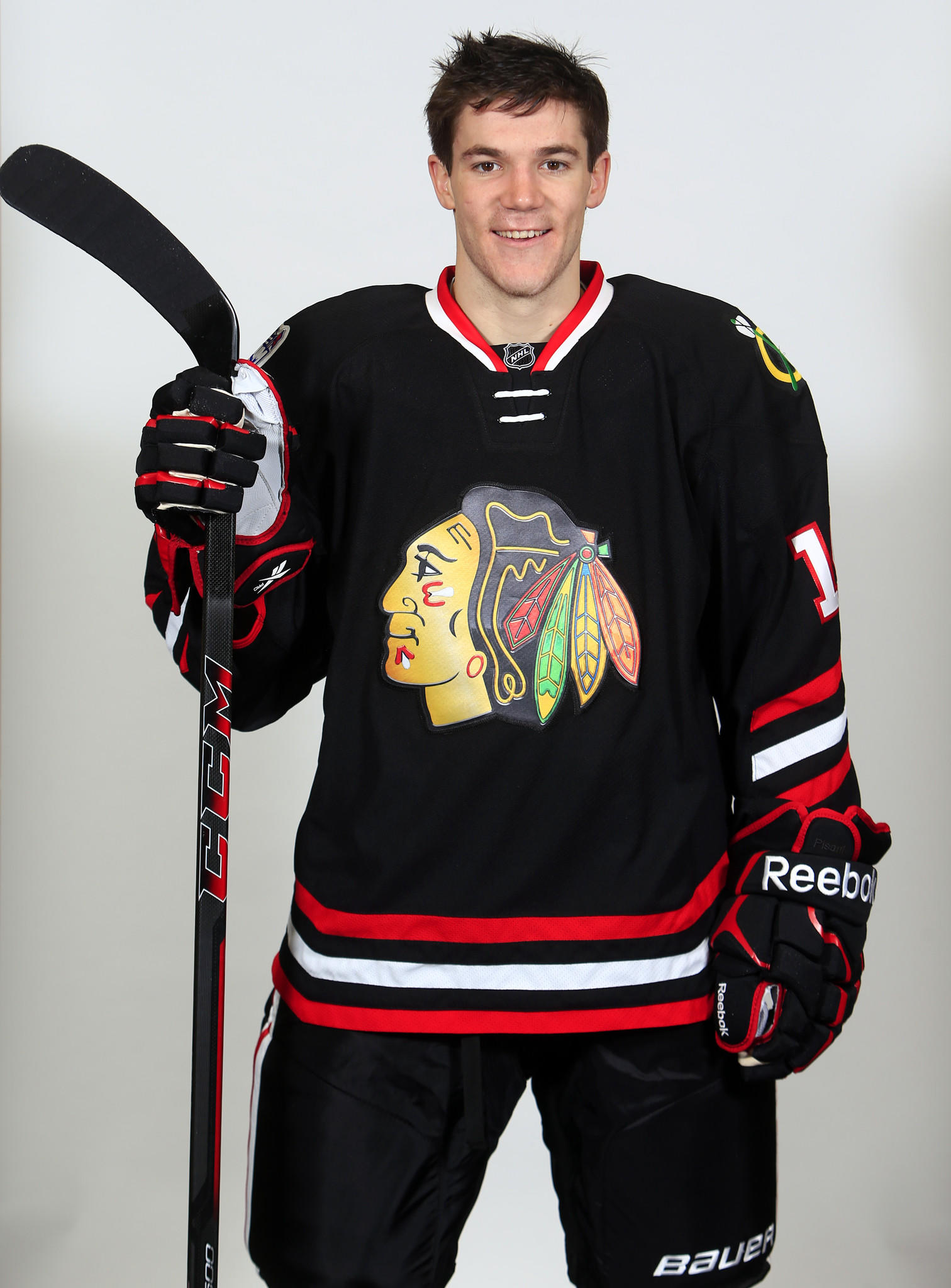 Andrew Shaw models the 2014 Winter Classic uniform.