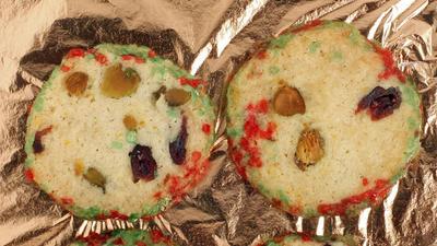 Pistachio-cranberry icebox cookies