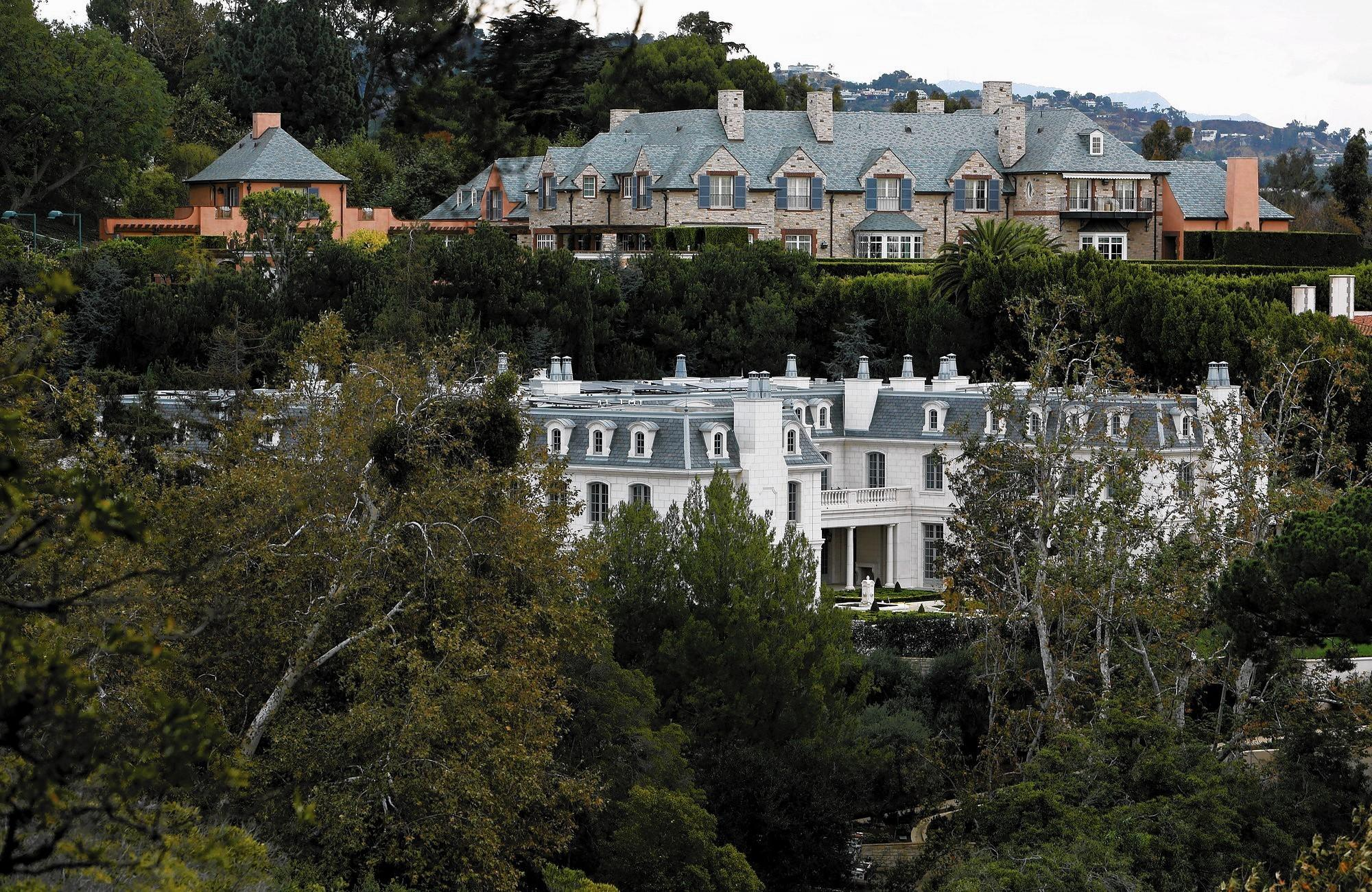Chateau des Fleurs, at bottom in photo, is nearing completion in Bel-Air. At 60,000 square feet, it is still not the biggest home in Los Angeles, but it's nothing to sneeze at.