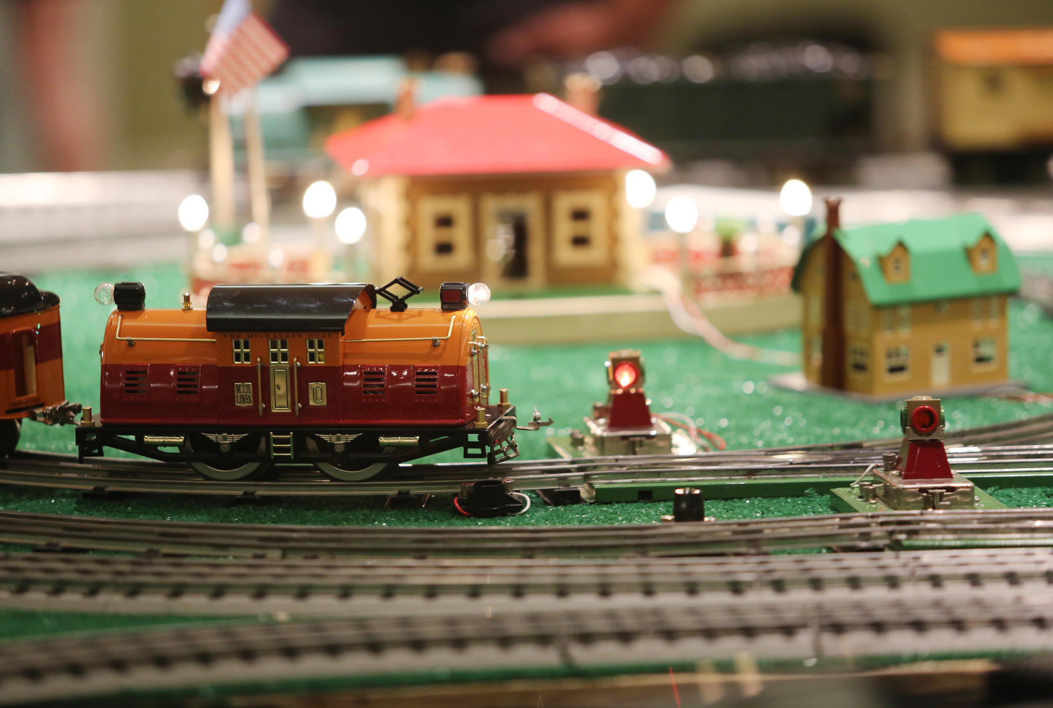 Standard gauge trains at the Villages Railroad Historical Society's Christmas Model Train Show. The event