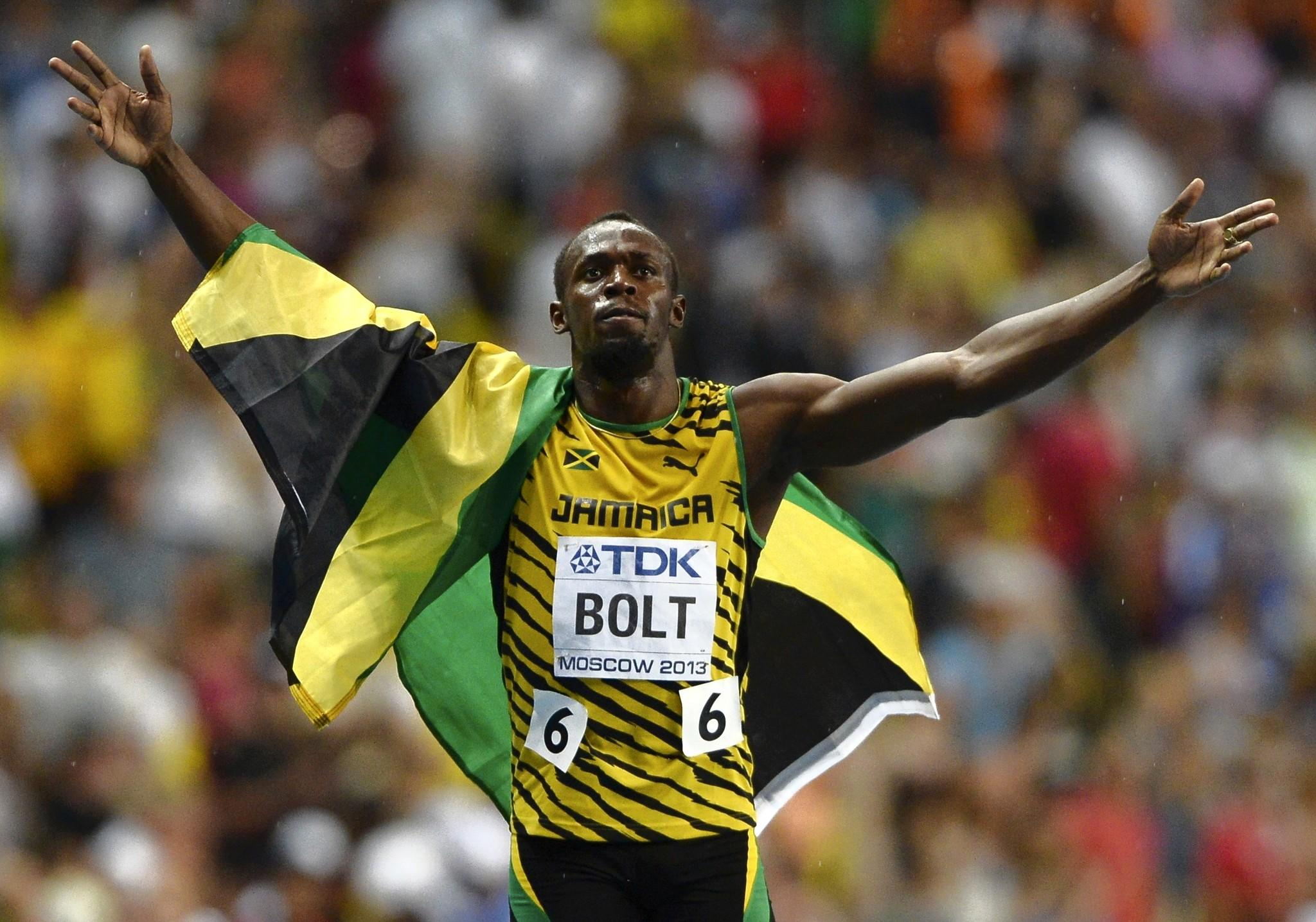 Usain Bolt celebrates winning in the men's 100 metres final during the IAAF World Athletics Championships.