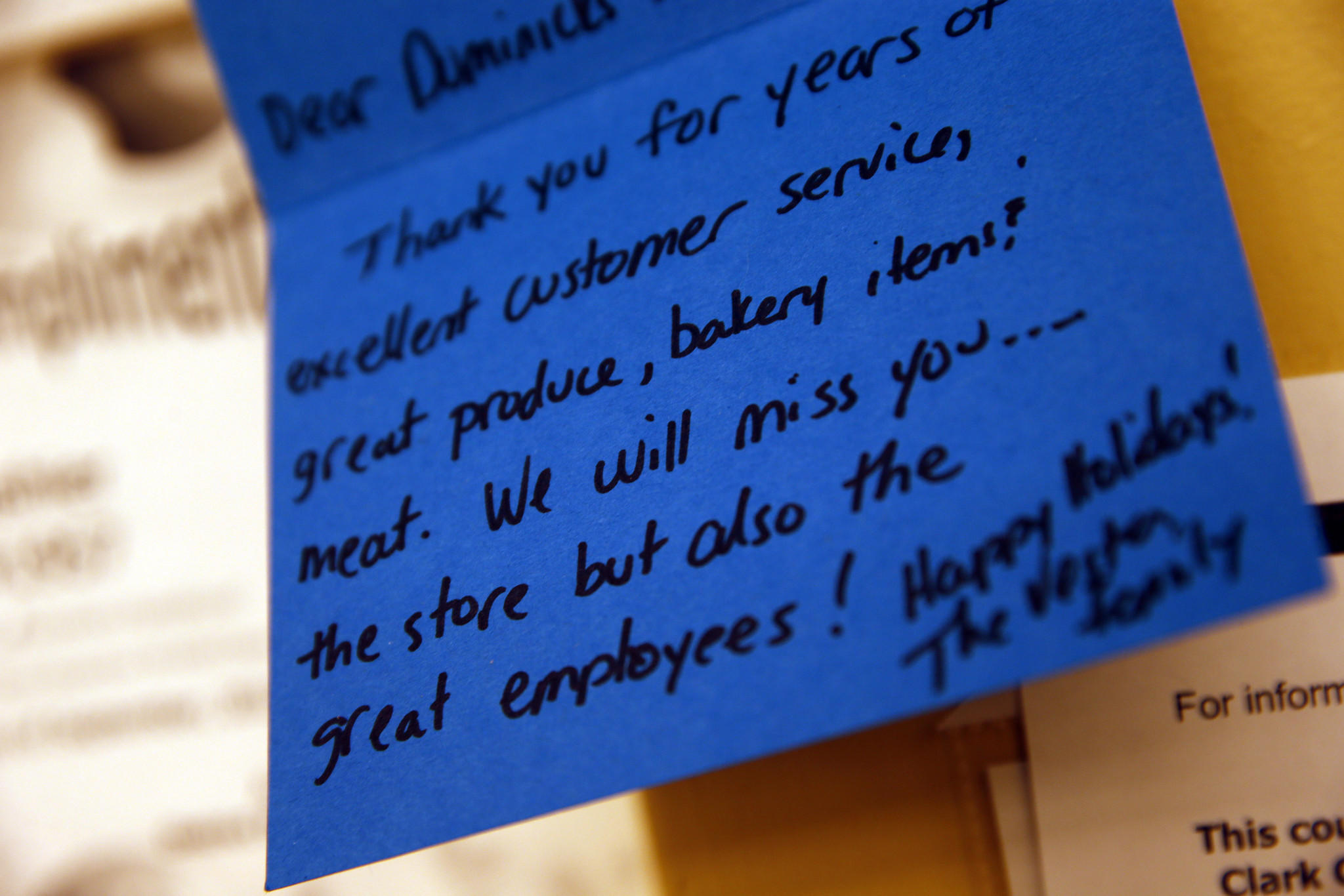 Thank you note at Dominick's grocery store in Oswego on Monday, Dec. 16, 2013. The store will close for business on December 28th.