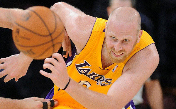 Lakers center Chris Kaman chases after a loose ball during a game against the New Orleans Pelicans last month.
