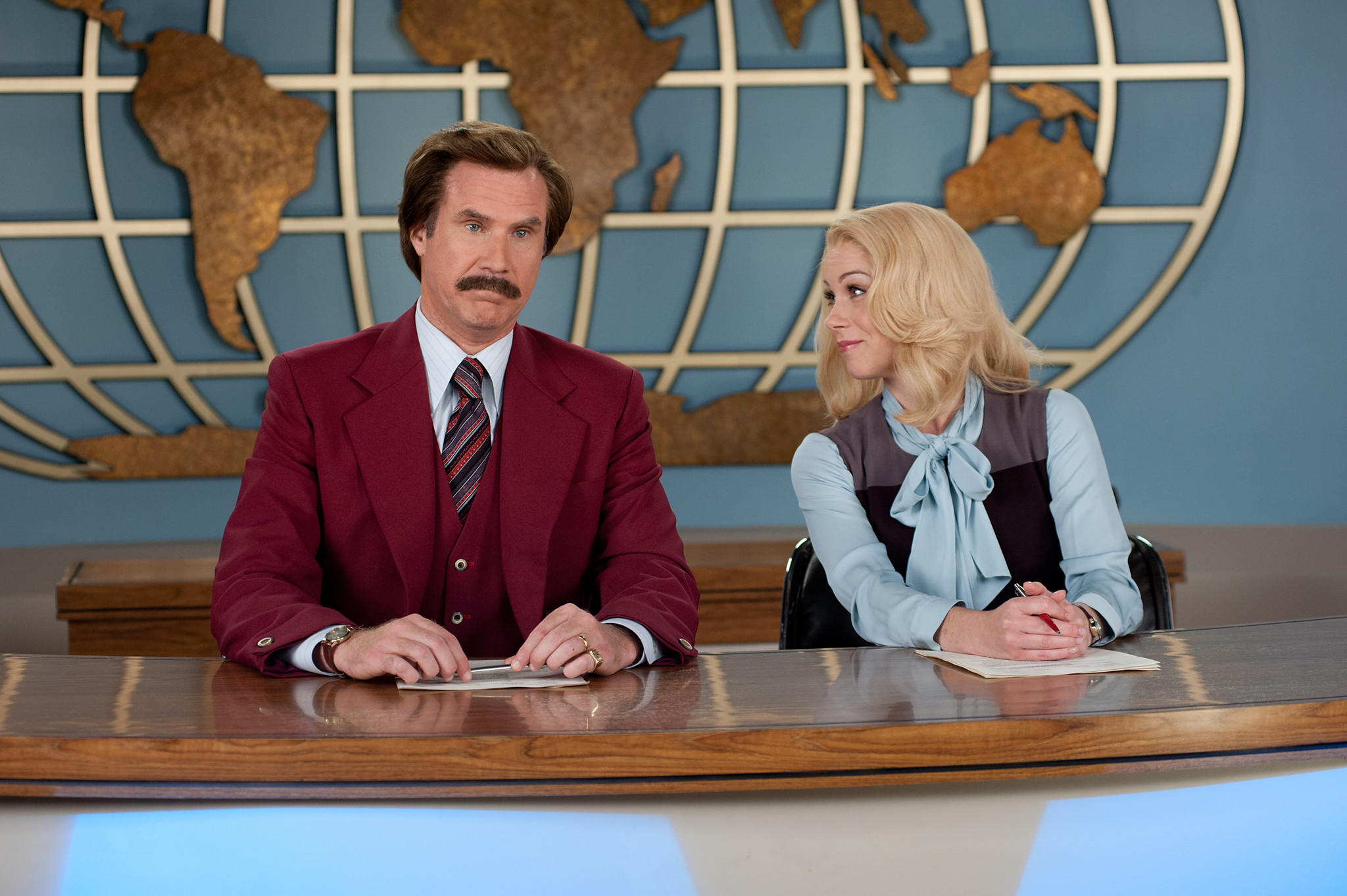 """Anchorman 2: The Legend Continues"" had a disappointing weekend at the box office. Above, Will Ferrell as Ron Burgundy and Christina Applegate as Veronica Corningstone in a scene from the comedy."