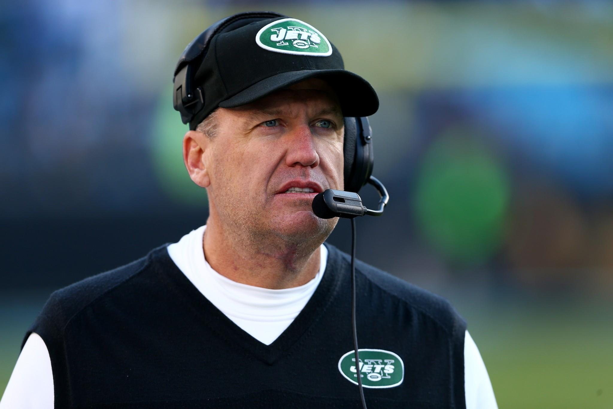 Head coach Rex Ryan of the Jets watches during their game against the Carolina Panthers at Bank of America Stadium.
